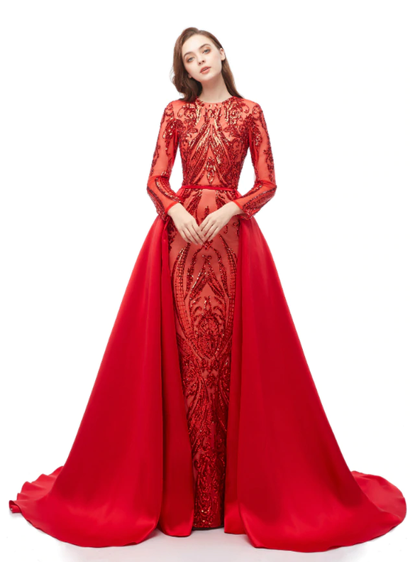 Red Mermaid Sequins Two Piece Long Sleeve Prom Dress