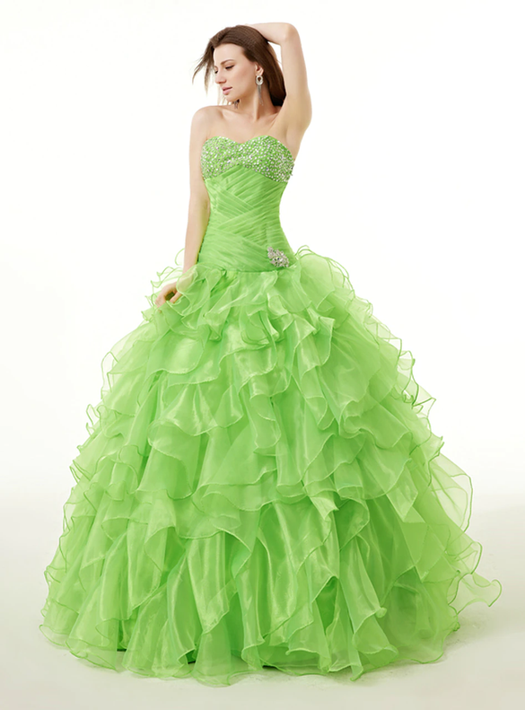 Green Organza Beading Pleats Sweetheart Neck Quinceanera Dresses