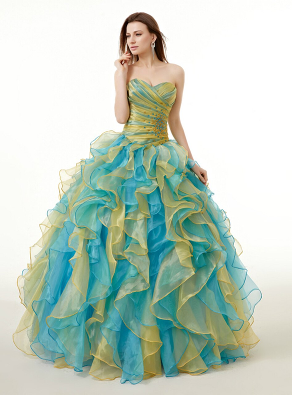 Colorful Organza Ruffle Beading Pleats Quinceanera Dresses
