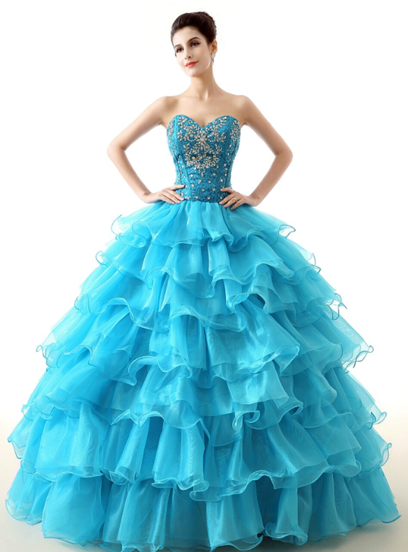 Blue Sweetheart Crystal Sequins Quinceanera Dresses