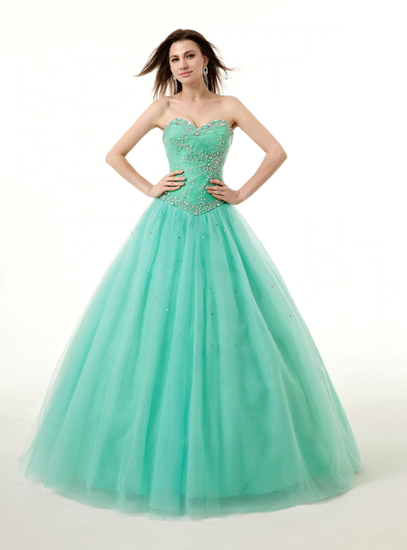 Green Tulle Sweetheart Beading Pleats Quinceanera Dresses
