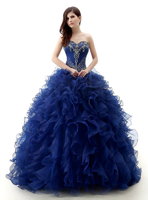 Navy Blue Organza Crystal Beading Quinceanera Dresses