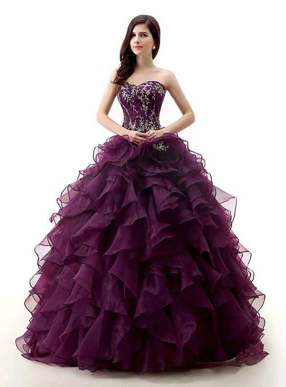 Dark Purple Organza Beading Crystal Quinceanera Dresses