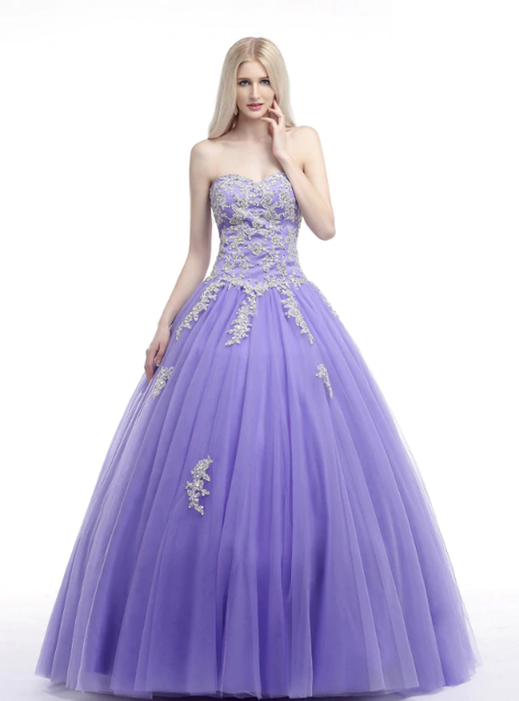Lavender Tulle Sweetheart Appliques Quinceanera Dresses