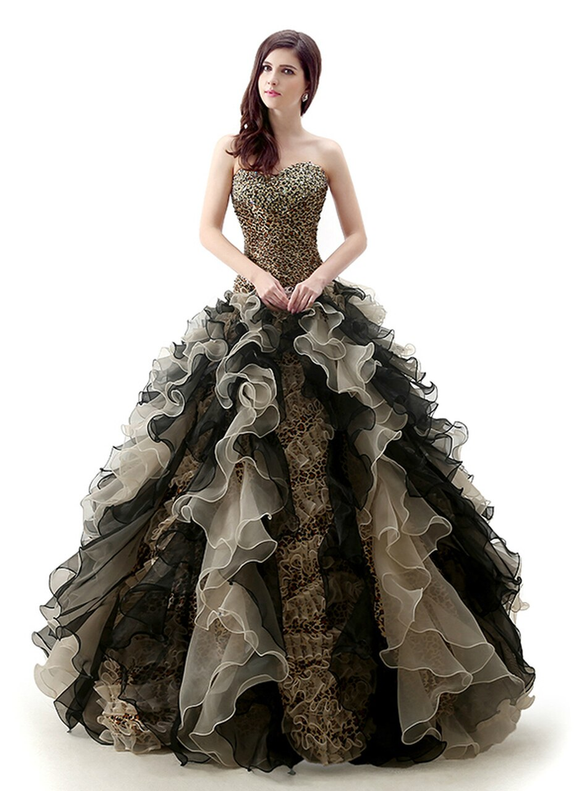 Leopard Pleats Sweetheart Beading Quinceanera Dresses