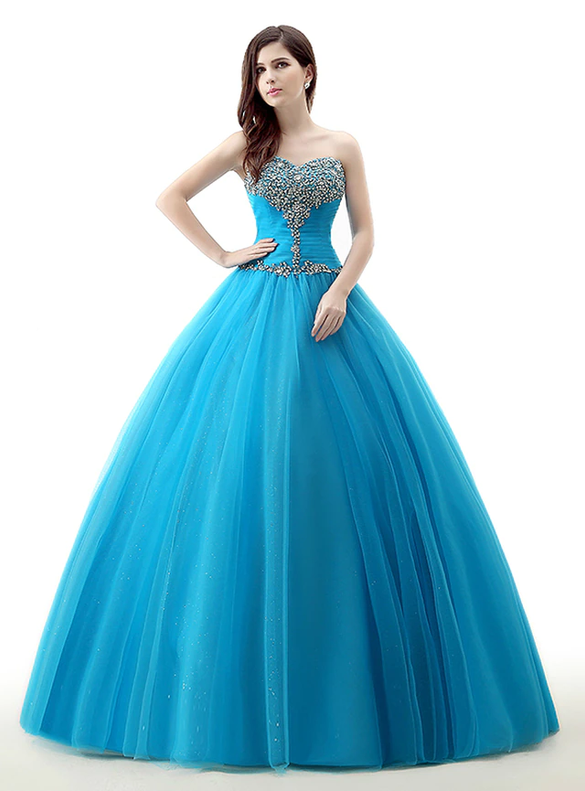 Blue Tulle Pleats Beading Sweetheart Quinceanera Dresses