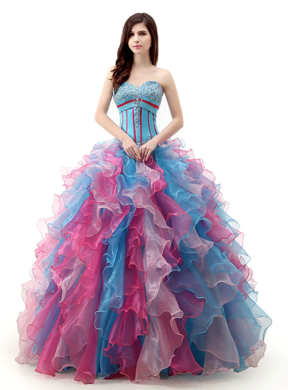 Colorful Sweetheart Organza Beading Quinceanera Dresses
