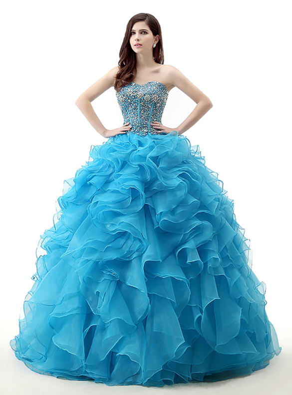 Blue Organza Sweeetheart Beading Sequins Quinceanera Dresses