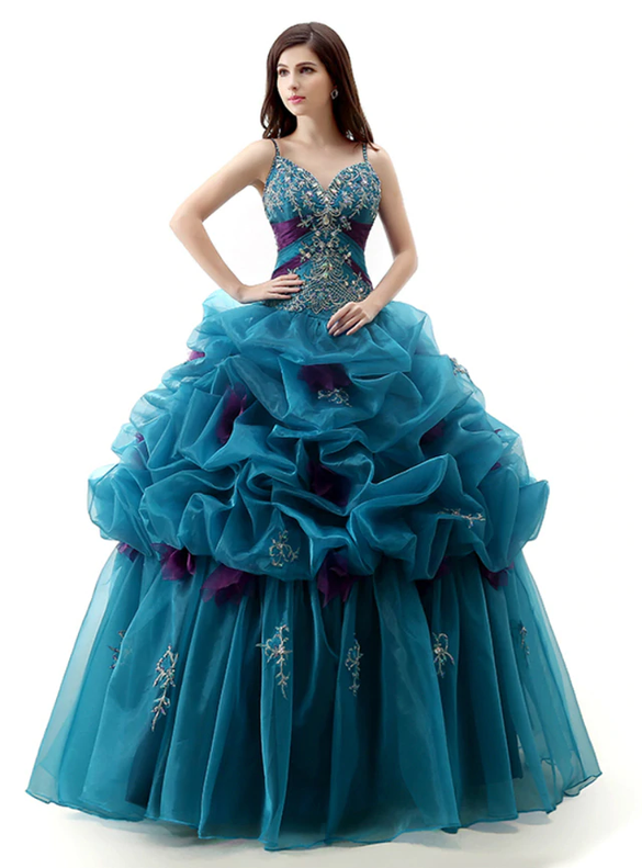 Blue Organza Spagehtti Straps Beading Quinceanera Dresses