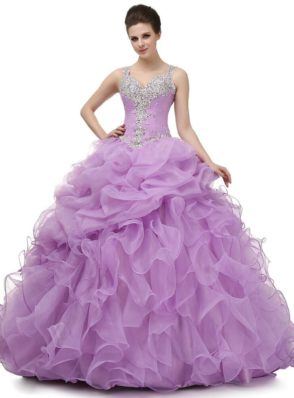 Purple Ball Gown Beading Organza Quinceanera Dresses