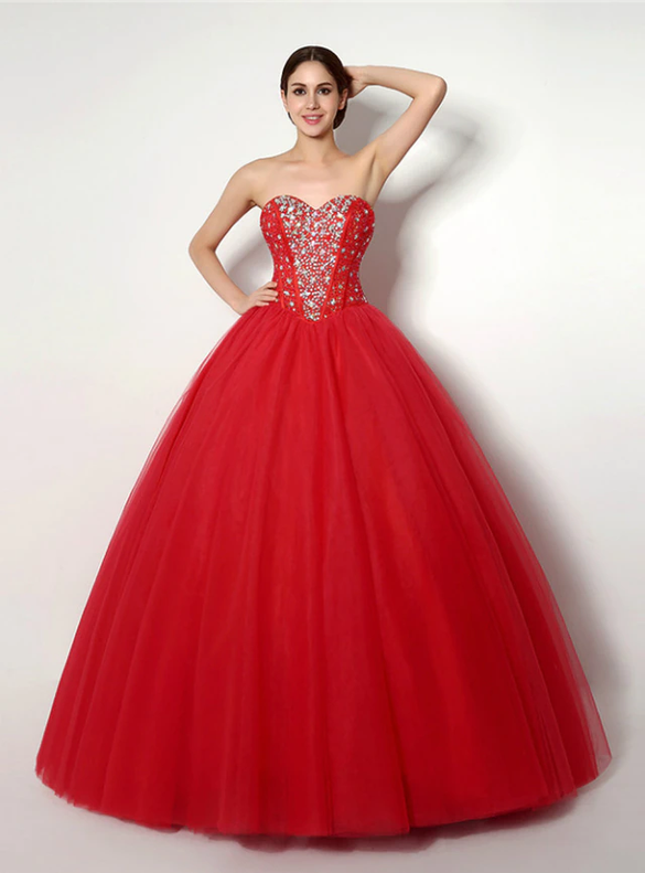 Red Tulle Sweetheart Beading Princess Quinceanera Dresses