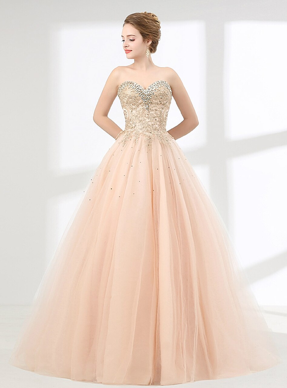 Champagne Tulle Appliques Beading Quinceanera Dresses