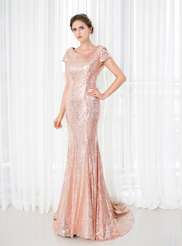 Pink Sequins Cap Sleeve Backless Bridesmaid Dress