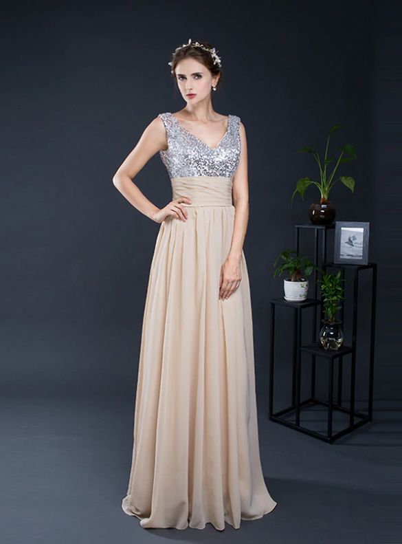 Champagne Chiffon Sequins V-neck Bridesmaid Dress