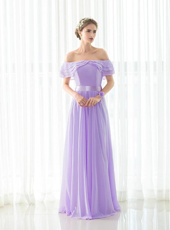 Simple Purple Chiffon Off Shoulder Bridesmaid Dress