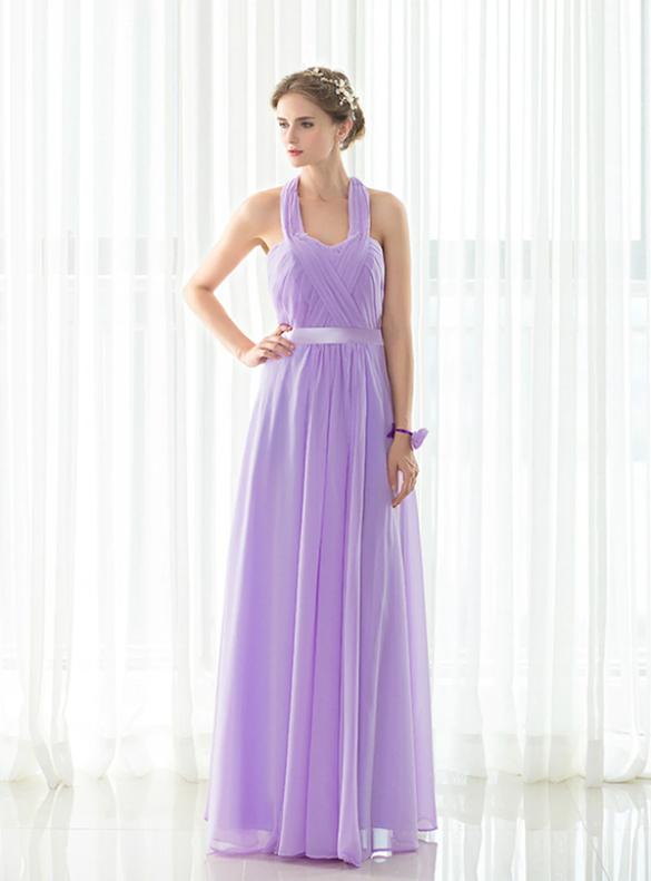 Simple Halter Chiffon Pleats Bridesmaid Dress