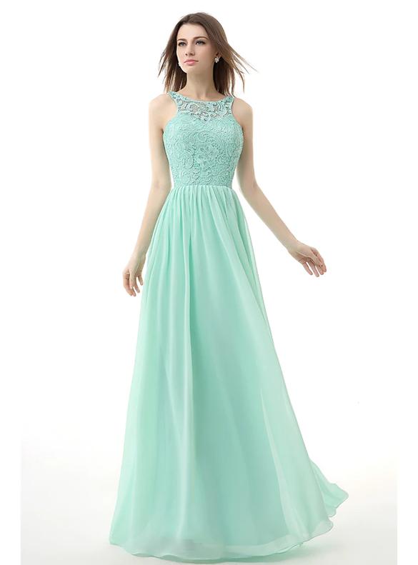 Green Lace Chiffon Open Back Bridesmaid Dress