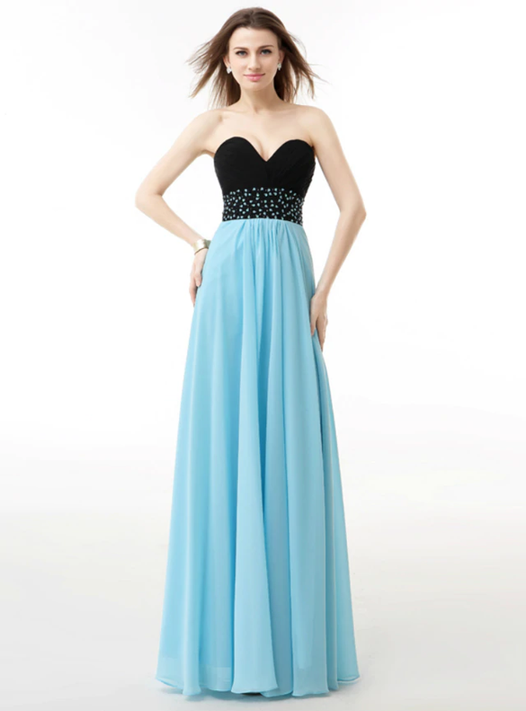 Blue Black Chiffon Pleats Strapless Bridesmaid Dress