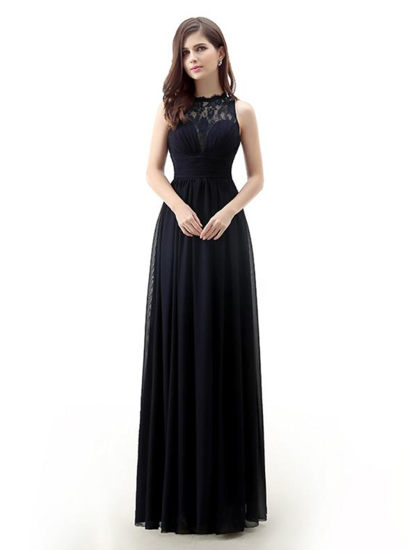 Navy Blue Chiffon Lace Pleats Long Bridesmaid Dress