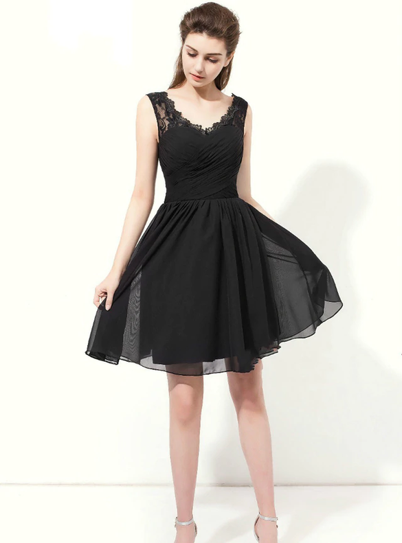 Black Short Chiffon Lace V-neck Bridesmaid Dress