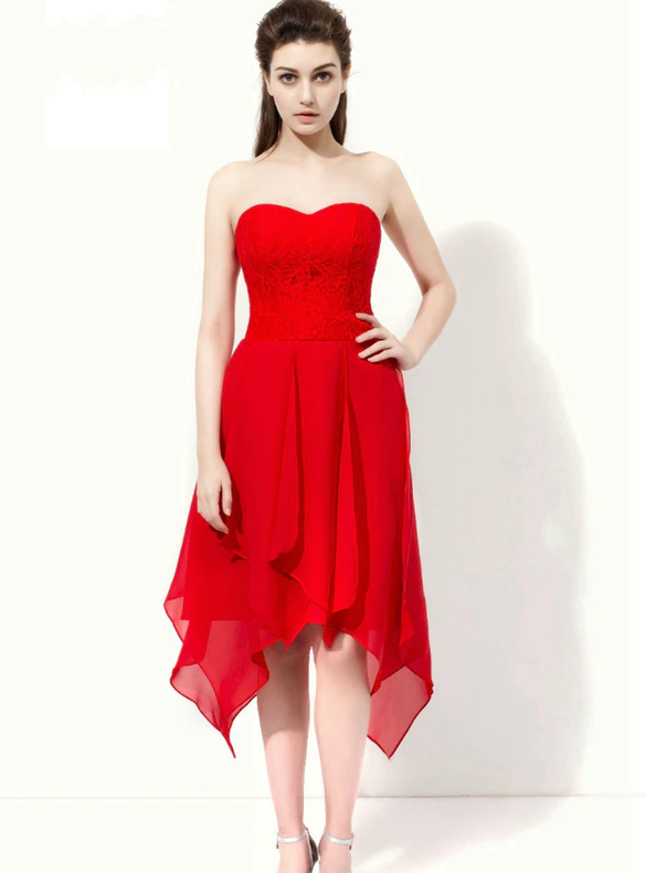 Red Chiffon Lace Strapless Short Bridesmaid Dress