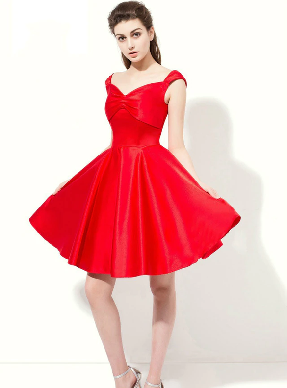Red Satin Straps Short Bridesmaid Dress
