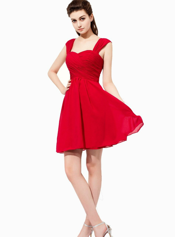 Red Chiffon Straps Pleats Mini Short Bridesmaid Dress