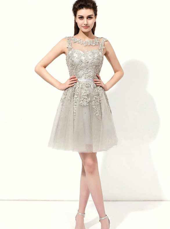 Silver Gray Tulle Appliques Beading Short Bridesmaid Dress