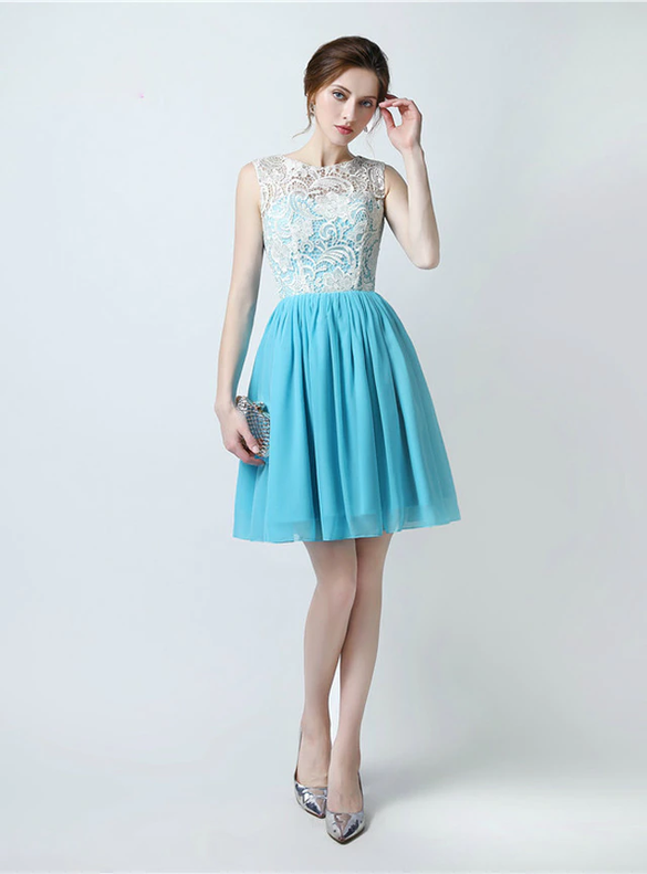 Light Blue Chiffon Lace Button Bridesmaid Dress