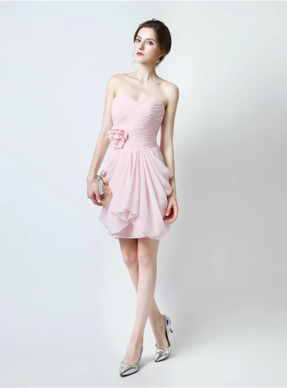 Pink Chiffon Sweetheart Pleats Mini Bridesmaid Dress