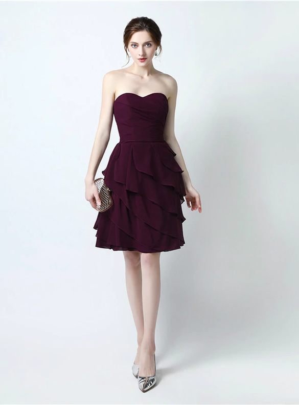 Dark Burgundy Chiffon Strapless Short Bridesmaid Dress