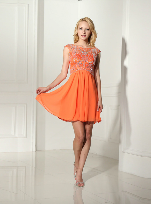 Orange Chiffon Cap Sleeve Beading Crystal Homecoming Dress