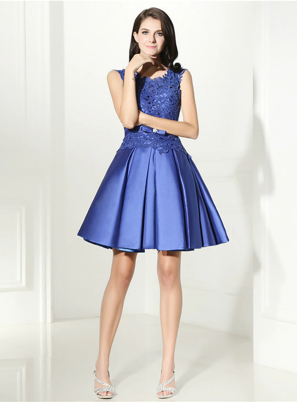 Blue Satin Lace Short Homecoming Dress
