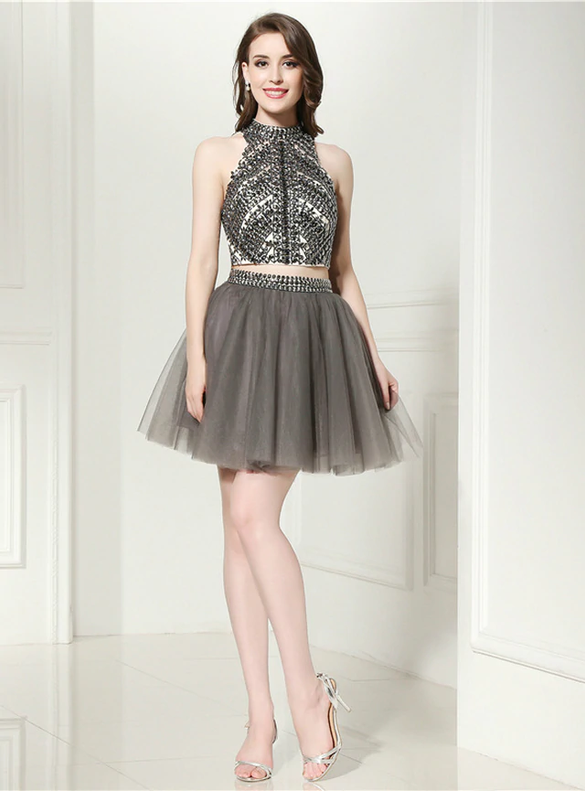 Gray Tulle Two Piece Backless Beading Homecoming Dress