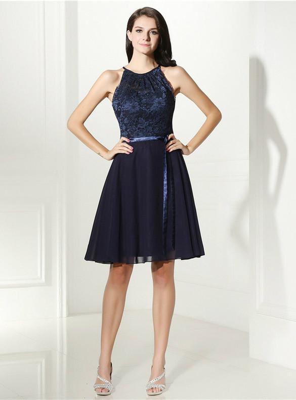 Navy Blue Chiffon Lace Halter Homecoming Dress