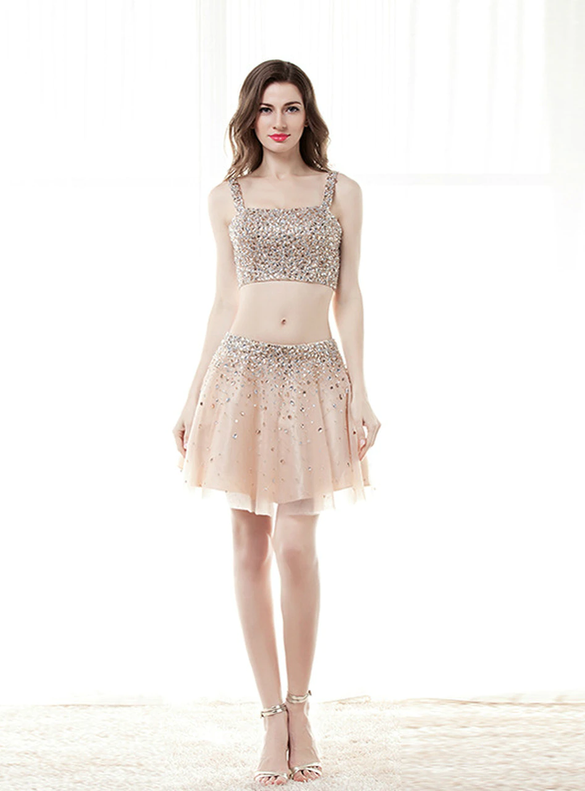 Two Piece Tulle Beading Crystal Mini Homecoming Dress