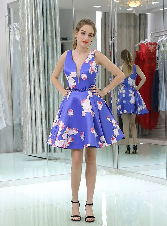 Blue Satin Print V-neck Homecoming Dress