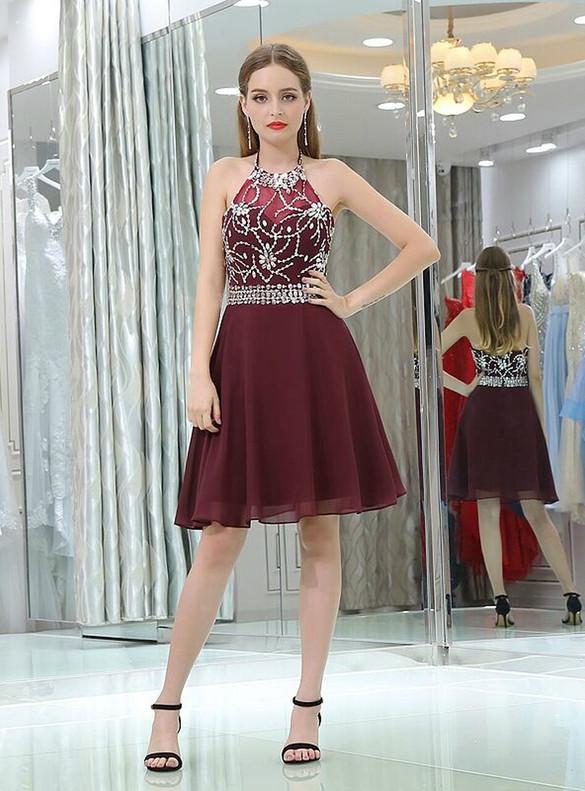 Burgundy Tulle Halter Beading Homecoming Dress