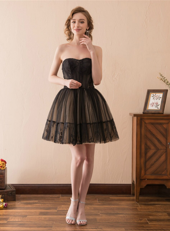Black Strapless Tulle Lace Mini Short Homecoming Dress
