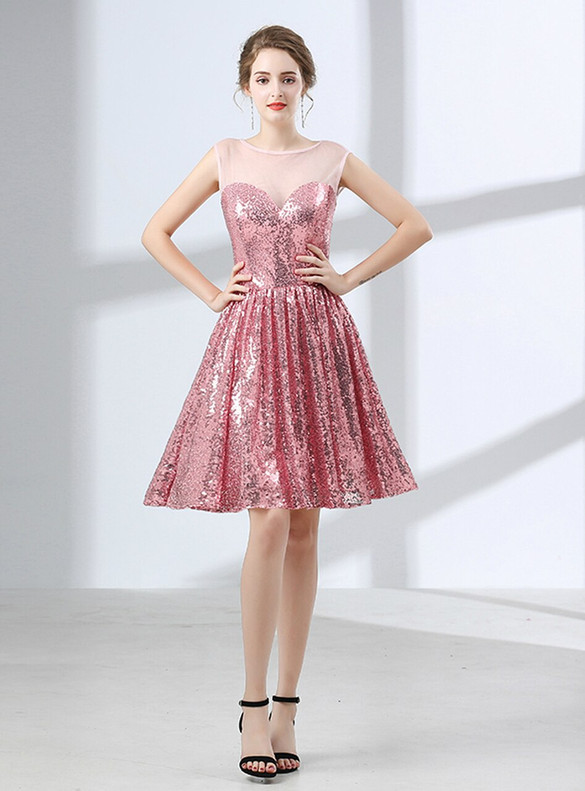 Pink Sequins Sleevelss Cocktails Homecoming Dress