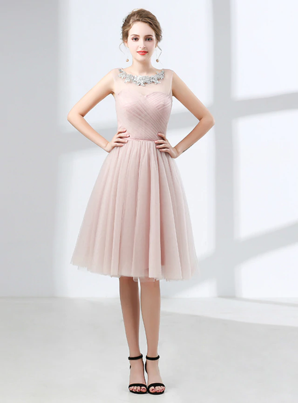 Pink Tulle Pleats Scoop Neck Homecoming Dress