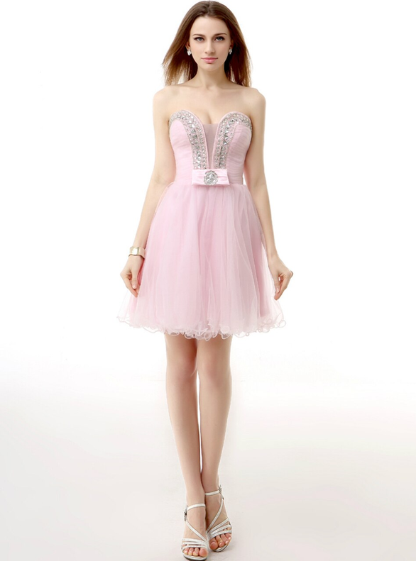 Pink Tulle Strapless Pleats Crystal Homecoming Dress