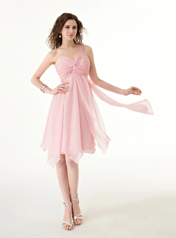 Pink Pleats Beading One Shoulder Homecoming Dress