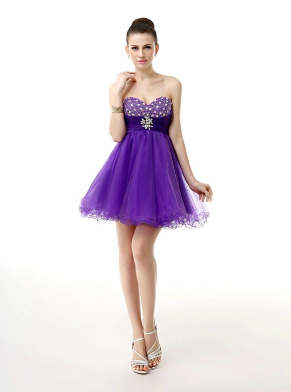 Dark Purple Tulle Pleats Crystal Homecoming Dress