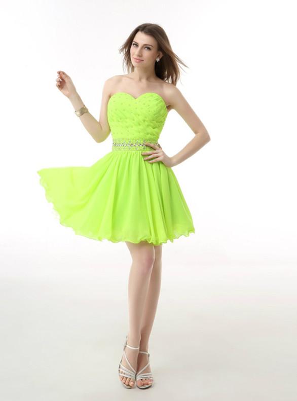 Fluorescent Green Chiffon Pleats Beading Homecoming Dress