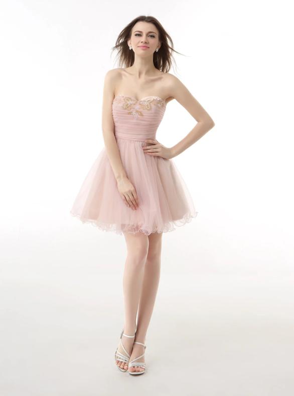 Pink Pleats Beading Strapless Homecoming Dress