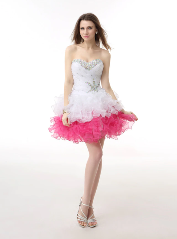 Organza Pink White Pleats Crystal Homecoming Dress
