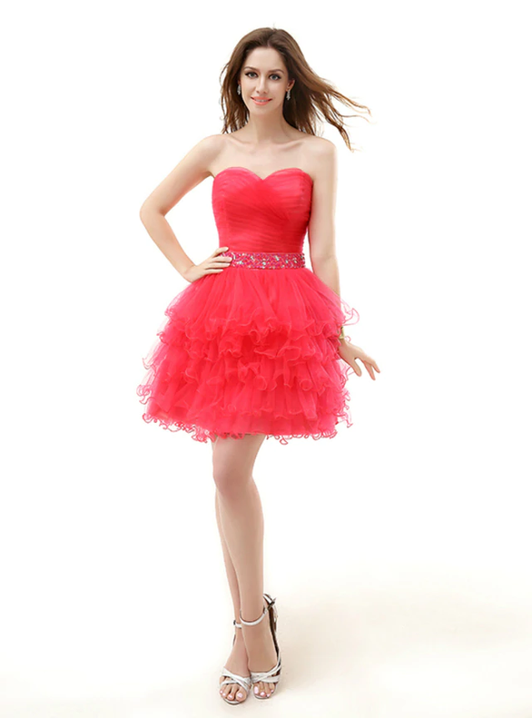 Red Tulle Strapless Pleats Beading Homecoming Dress