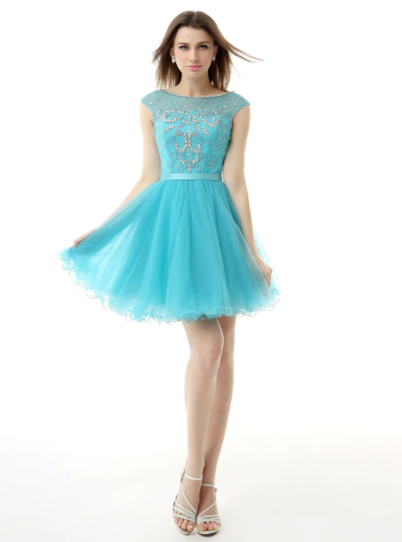 Blue Tulle Beading Cap Sleeve Backless Homecoming Dress