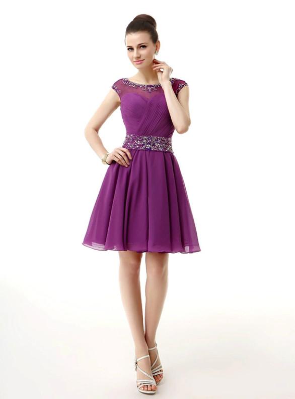 Purple Chiffon Pleats Cap Sleeve Crystal Homecoming Dress